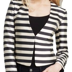 DOLCE VITA Black Ivory Collarless Striped Blazer